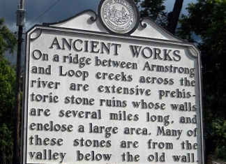 A historic marker along U.S. 60 promotes the location of the Mount Carbon Walls.