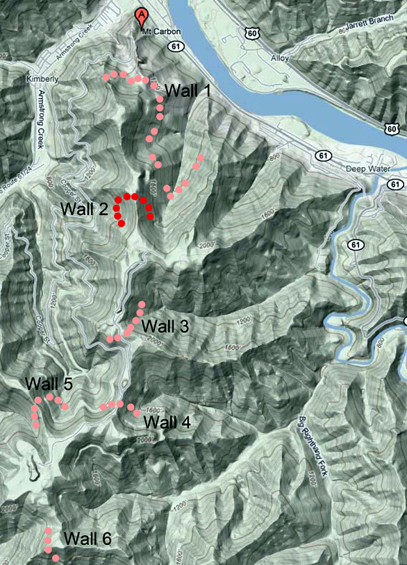 The locations of stone windrows on Armstrong Mountain have been mapped by Glenn A.