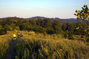 Mountain bikers explore an upland trail in Mountwood Park in Wood County.