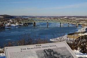 The Ohio River sweeps past For Boreman near Parkserburg, West Virginia. Photo courtesy Val Baldwin Carnell.
