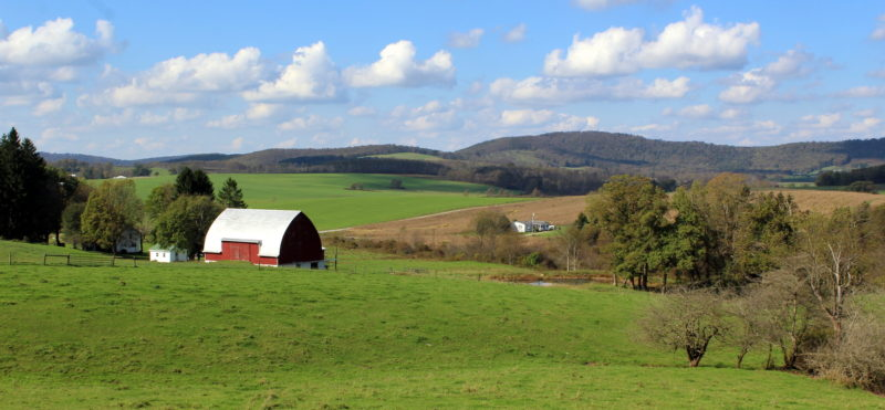 Pastures range across northern Preston County near Cranesville, West Virginia.