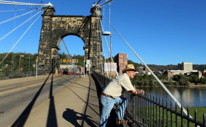 David Sibray reflects on the diversity of Wheeling, West Virginia, while visiting the Wheeling Suspension Bridge.
