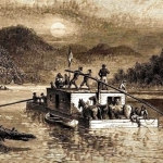 Frontier boatman ply the Ohio River in western West Virginia.