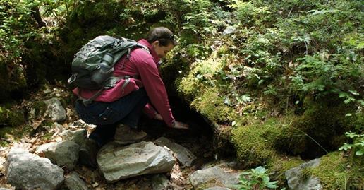A caver explores vents at Ice Mountain in Hampshire County, West Virginia.