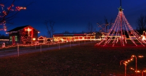 Dusk falls on the holiday lights display at the W.Va. State Farm Museum.