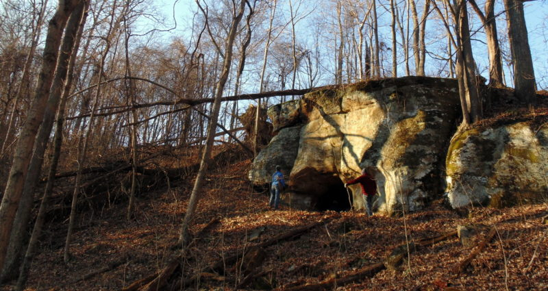 West Virginia Explorer editor David Sibray explores the Indian Cave with other scholars.