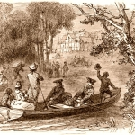 A band of boatman row along the Ohio River.