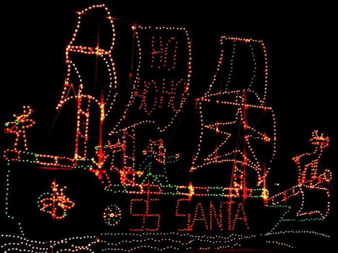 Santa Claus's ship sets sail at Krodel Park at Point Pleasant, West Virginia.
