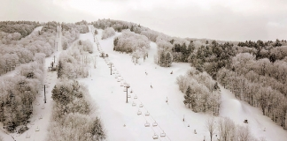 Snow has fallen on the ski slopes at Canaan Valley Resort in the Alleghenies in northern West Virginia.