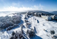 A village of ski lodges clusters at the top of Snowshoe Mountain. Photo courtesy W.Va. Ski Areas Association.
