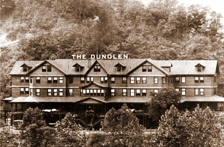 A wagon road climbs the mountain behind the Dunglen Hotel, deep in the New River Gorge.