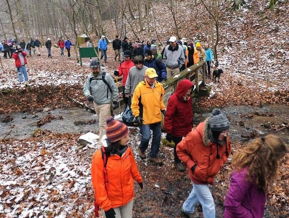 More than 100 hikers showed up for a First Day Hike at Kanawha State Forest. Photo by Kenny Kemp for the West Virginia Gazette provided by the W.Va. Dept. of Commerce.