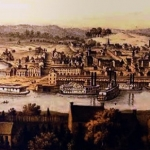 Parkersburg, West Virginia, as it appeared in the 1860s. Illustrator unknown.
