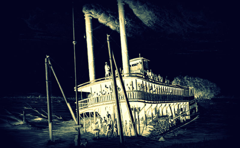 Artist's conception of wreck of steamboat Rebecca at Parkersburg in 1869.