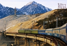The Trans-Siberian wanders through a mountain landscape