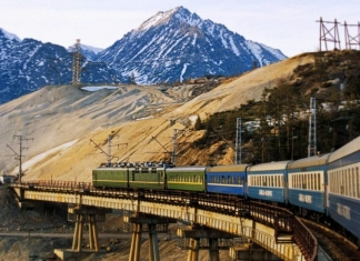 The Trans-Siberian wanders through a mountain landscape