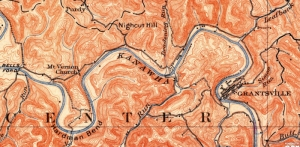 A 1907 map shows Grantsville, West Virginia (WV), and the valley of the Little Kanawha River downstream.