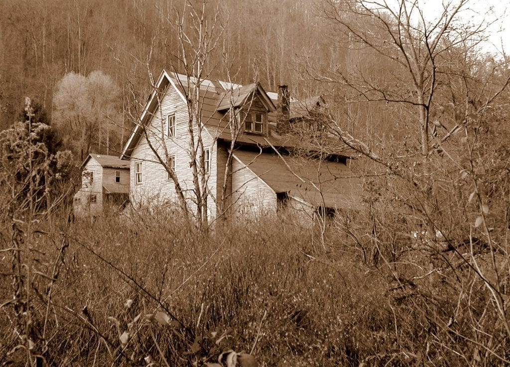 No longer standing, a large home in Stotesburg was among few structures the remained after coal played out in the Winding Gulf in Raleigh County, West Virginia.