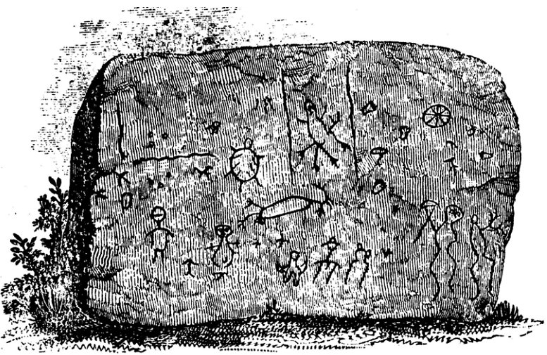 Images of beasts and men decorate a boulder at the Half-Moon archaeological site, now submerged beneath the Ohio River.