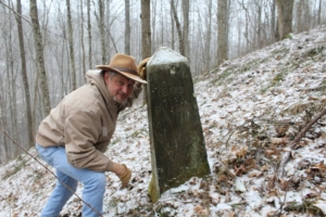 David Sibray visits the monument that establishes the base of the northern panhandle of West Virginia.
