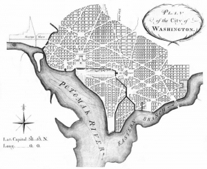 """Ellicott's """"Plan of the City of Washington"""" revised from Pierre Charles L'Enfant; 1792 - Library of Congress"""