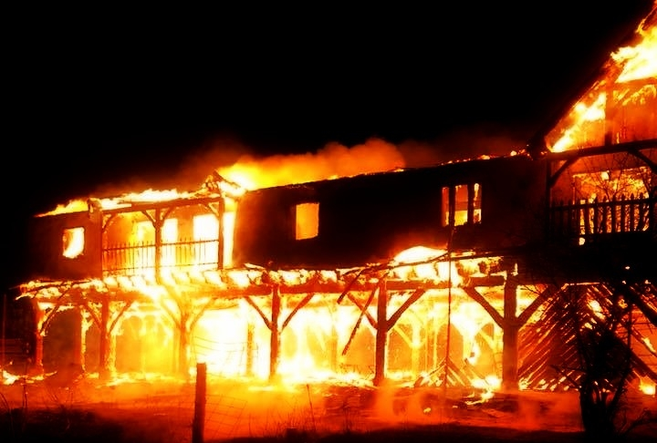 Fire consumes a barn at the West Virginia Renaissance Festival grounds.