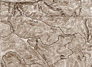 Map showing Skull Run, West Virginia, legendary site of a 1790 Shawnee battle.