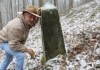 David Sibray visits the stone that establishes the base of the northern panhandle of West Virginia.