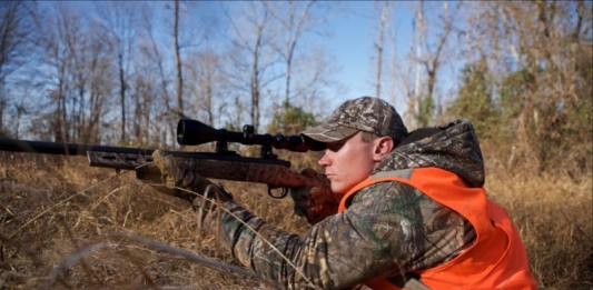 Young hunter in the field in West Virginia
