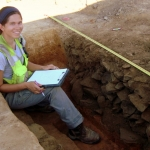 Archaeologist Charity Moore at a dig.