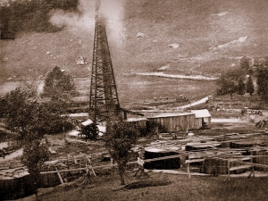 A vintage photo of the Copley Farm oil well captured plenty of activity.