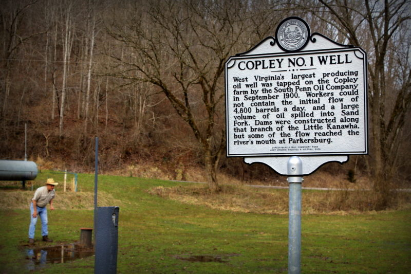 David Sibray explores the capped Copley Oil Well near Weston, West Virginia.