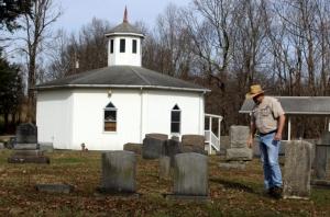 The Alberts Chapel Cemetery follows Sand Ridge behind Alberts Chapel.