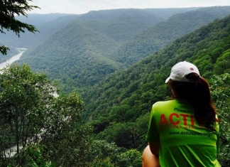 Malorie Polster contemplates the New River from an overlook at Grandview. Photo courtesy Active Southern West Virginia.