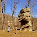 "David Sibray visits with ""Old Stone Face"" at North Bend State Park in Ritchie County near Harrisville, West Virginia."