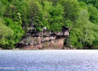 Site of Van Bibber's Leap, Van Bibber's Rock rises above the Kanawha River below Kanawha Falls.