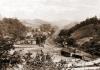 The West Virginia Short Line Railroad meandered along Fishing Creek through Jacksonburg, West Virginia, in Wetzel County.