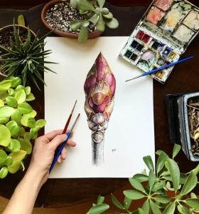 A buckeye bud comes into focus in a study by Rosalie Haizlett.