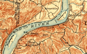 A map of the Ohio River from 1905 shows Newberry and Mustapha islands, the former of which has almost completely disappeared.