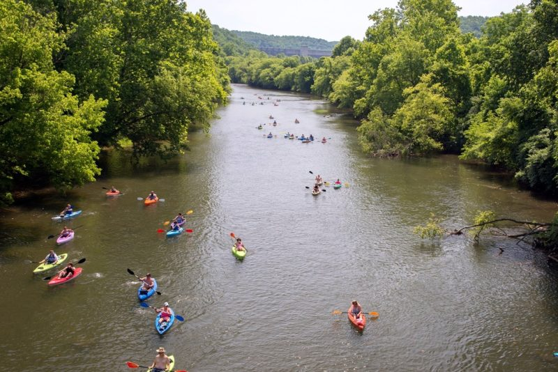 Paddlers float the Elk River below Sutton Dam. Courtesy Braxton County Convention and Visitors Bureau.