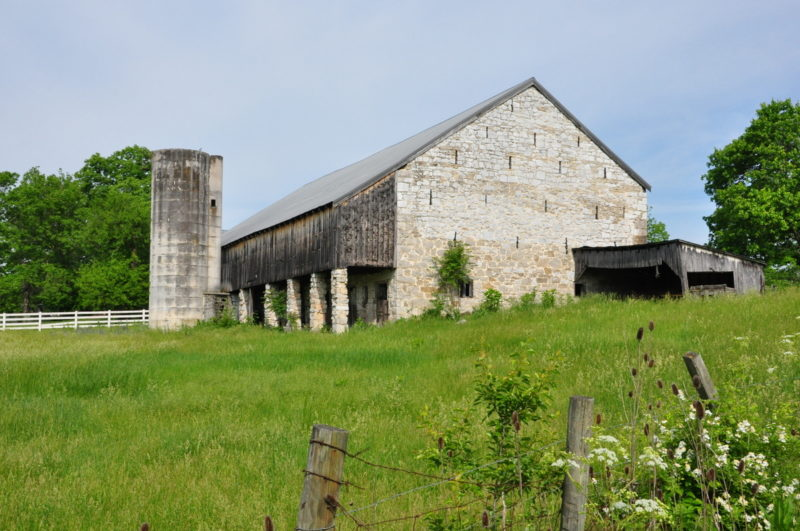 A historic stone barn awaits the harvest in West Virginia's eastern panhandle.
