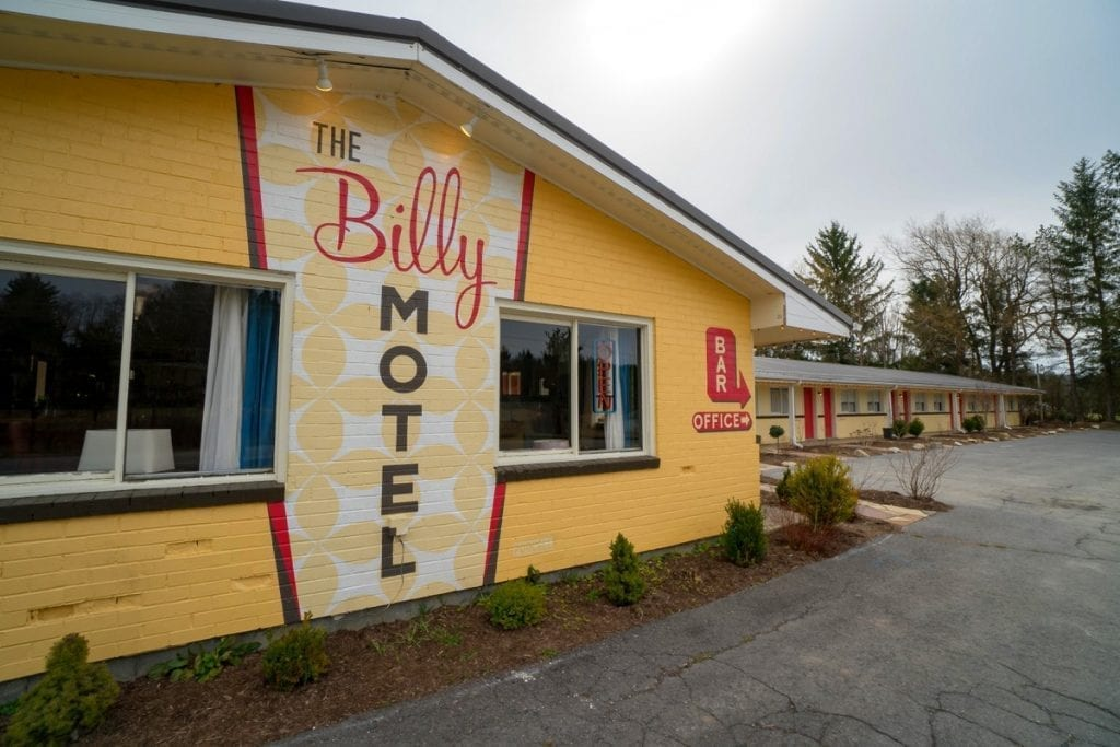 Retro signage decorates The Billy Motel and Bar in Davis, West Virginia.