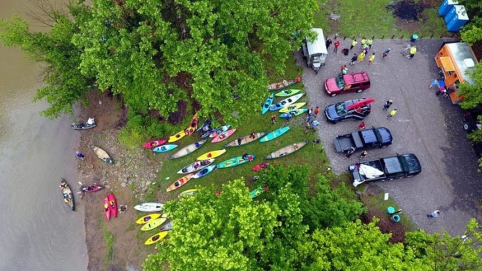Paddlers gather during the 2018 Float the Fork on the West Fork River.