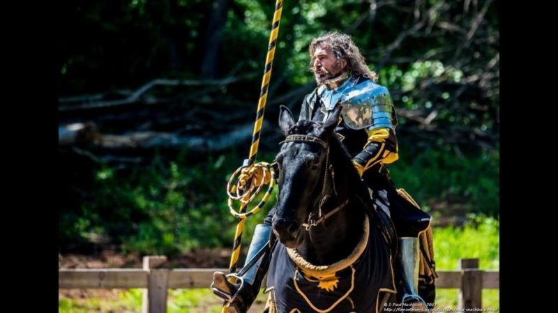 A knight prepares to joust at the West Virginia Renaissance Festival.