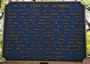 A historic marker tells the story of the Point of Beginning at the tip of northern West Virginia.