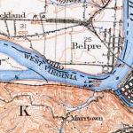 1910 topo map showing Graveyard of the Ohio below Parkersburg, West Virginia.