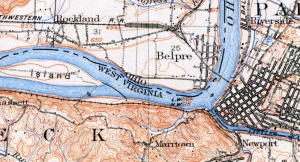 1910 topo map showing Graveyard of the Ohio below Parkersburg, West Virginia.