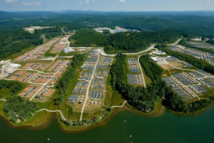 Basecamps Charlie (blue tents) and Delta (orange) extend across the James C. Justice National Scout Camp at the Bechtel Summit Reserve. (Photo Gary Hartley)
