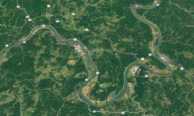 The Ohio River wanders uncharacteristically through a series of bends along the western edge of West Virginia.