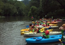 Kayakers ready to launch into the Guyandotte. Photo courtesy Guyandotte Water Trail.